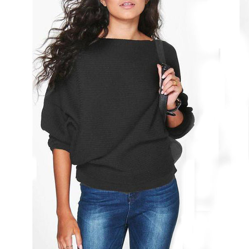 Women Loose Knitted Bat-Wing Sleeve Casual Jumper Type Sweater Blouse