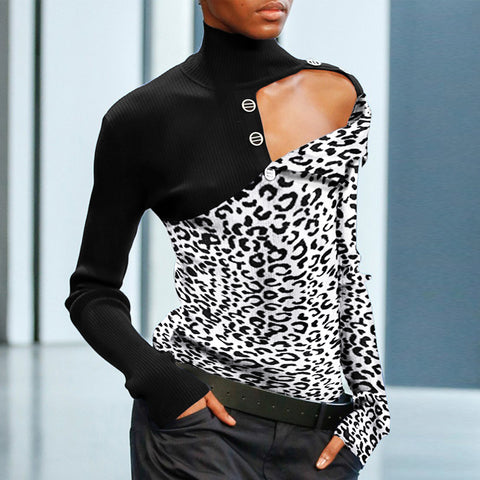 Fashion High Collar Leopard Splicing Long Sleeve Knit Blouse