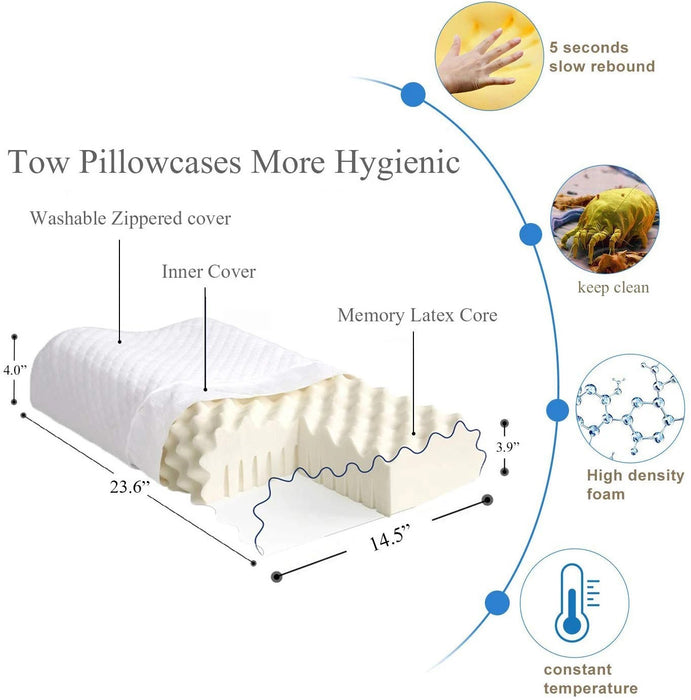 (Buy 2 Get 10% OFF)Natural Latex Pillow for Sleeping, Organic Cervical Pillow Ergonomic Contour Pillows for Shoulder Pain & Fatigue Relief