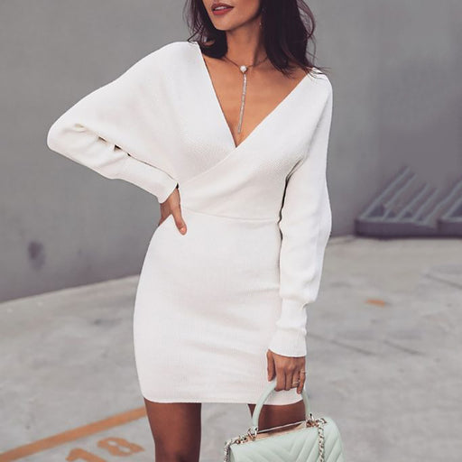 Commuting Simple White V Neck Knit Dress