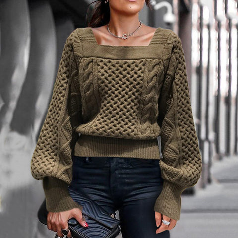 Fashion square collar solid color lantern sleeve knit sweater