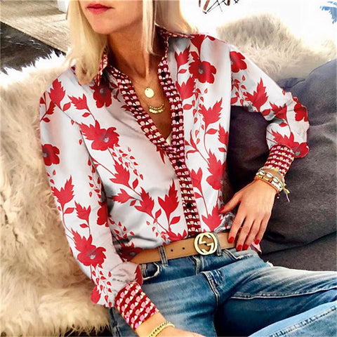 Gracybee V Neck Fashion Printing Long Sleeved Blouse
