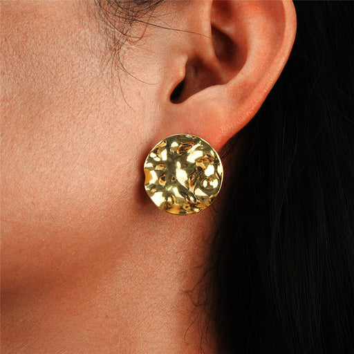 Retro contracted ladies round alloy earrings