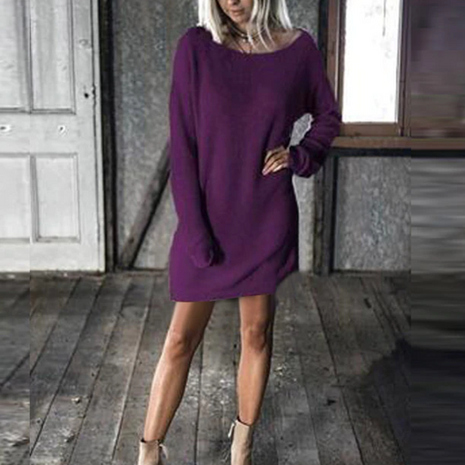 Round Neck  Plain  Batwing Sleeve Casual Dresses