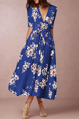 Surplice Fashion Belt Printed Maxi Dress