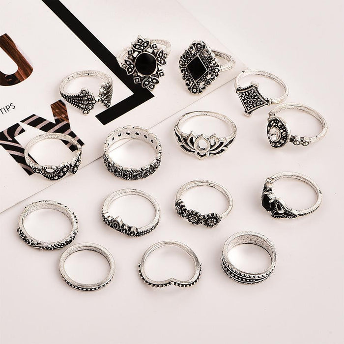 Bohemian Retro -Ancient Silver -Lotus Women's New Personality Ring Ring Set 15 Piece Set Necklace