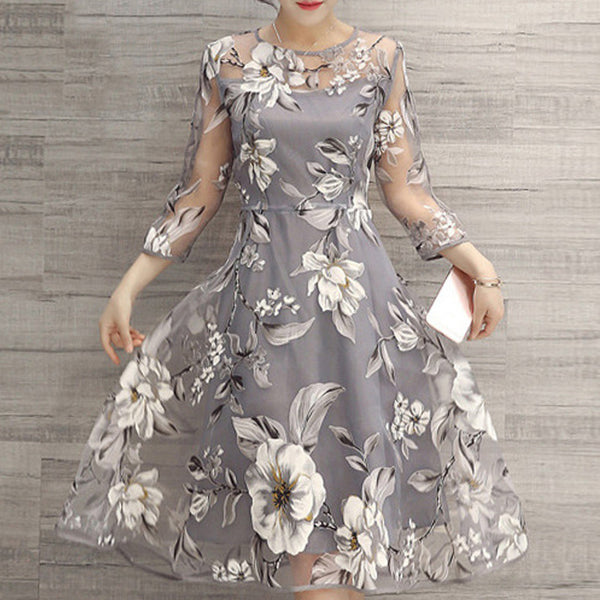Women's Organza Perspective Print Skater Dress