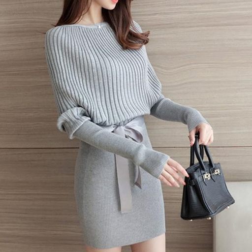 Fashion Plain Bodycon Sweater Dress