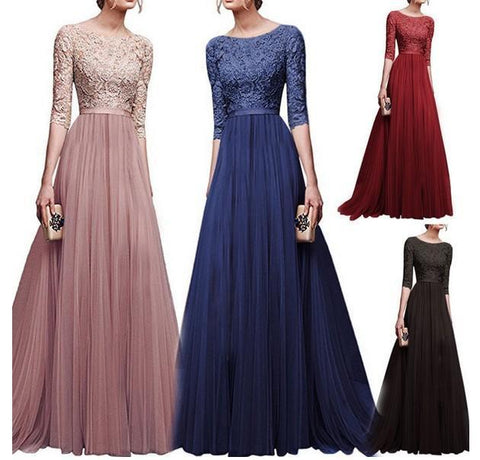 Round Neck Patchwork Plain Evening Dress