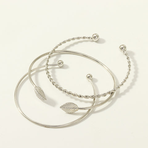 Contracted open mouth bracelet set three-piece