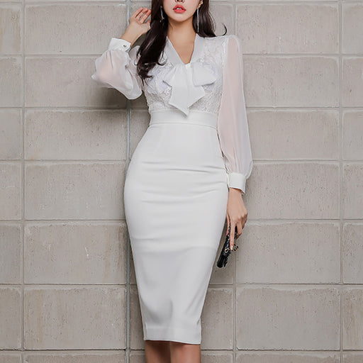 Elegant V-neck bow white stitching hip dress