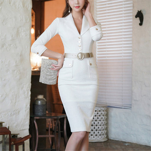 Fashion Slim Fit Suit Collar Three Quarter Sleeve Bodycon Midi Dress