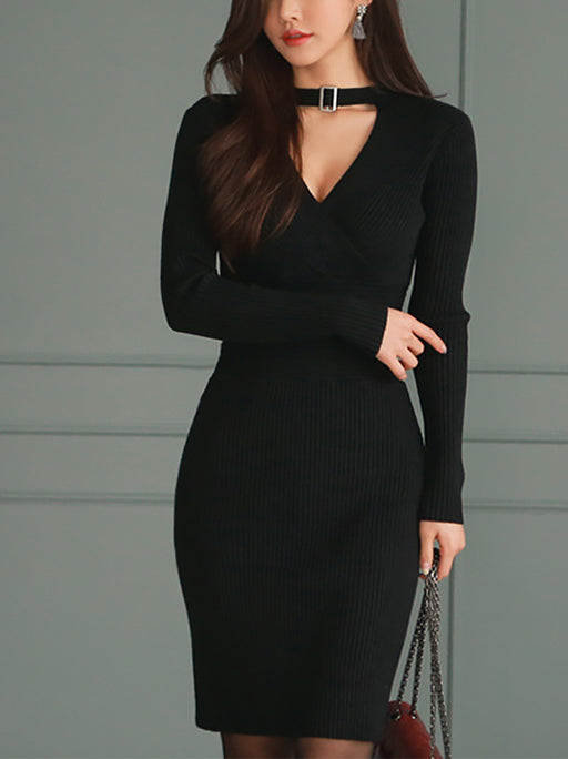 Sexy Halter V-neck Knit Dress
