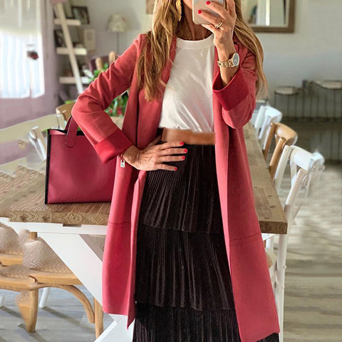 Women's solid color casual long trench coat