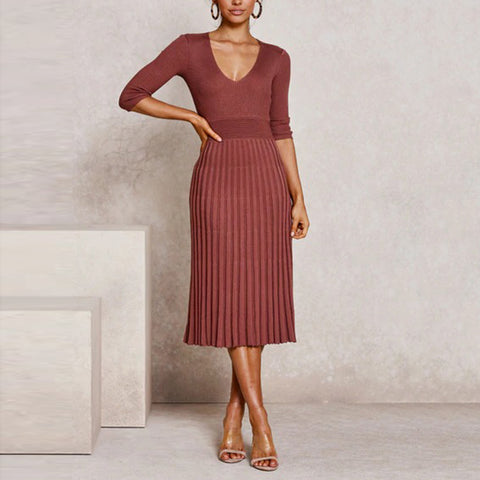 Women's Commuting Low Round Neck Long Sleeve Pleated Knit Dress