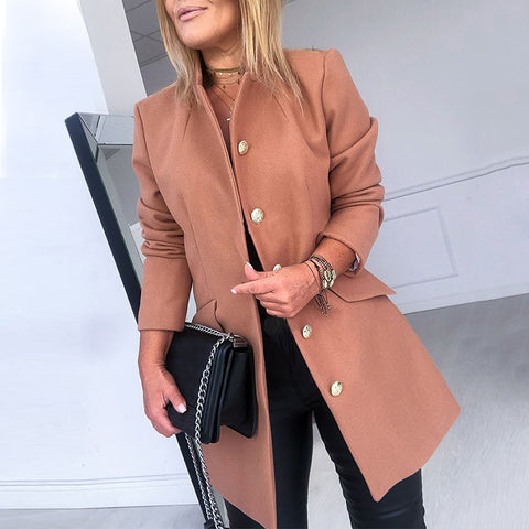 Women's Fashion Solid Color Long Sleeve Blazer
