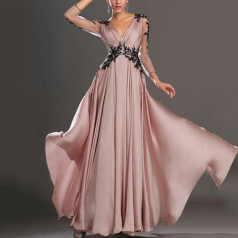 Pink Elegant Lace Wedding Banquet Evening Dress