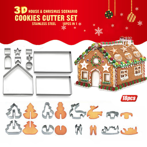 Christmas stainless steel 18-piece suit biscuit mold