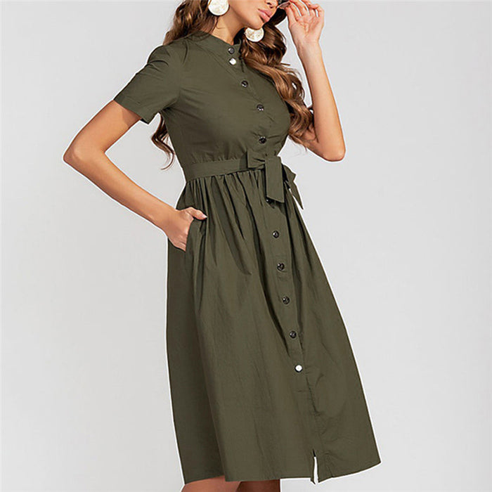 Lady solid color mandarin collar a-line dress