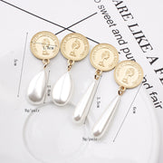 Simple round portrait metal pearl earrings