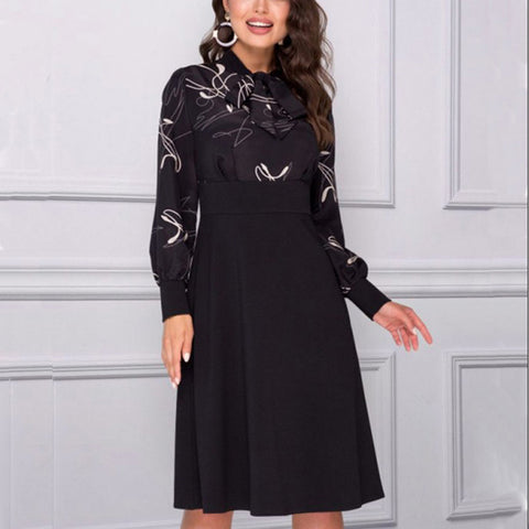 Women's Elegant Black Bow Tied Neck Dress