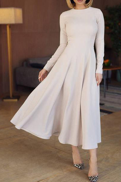Elegant Round Collar Plain Slim Wide Skater Dress