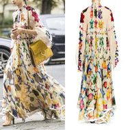 Retro HIgh Neck Long-Sleeve Printed Chiffon Maxi Dress