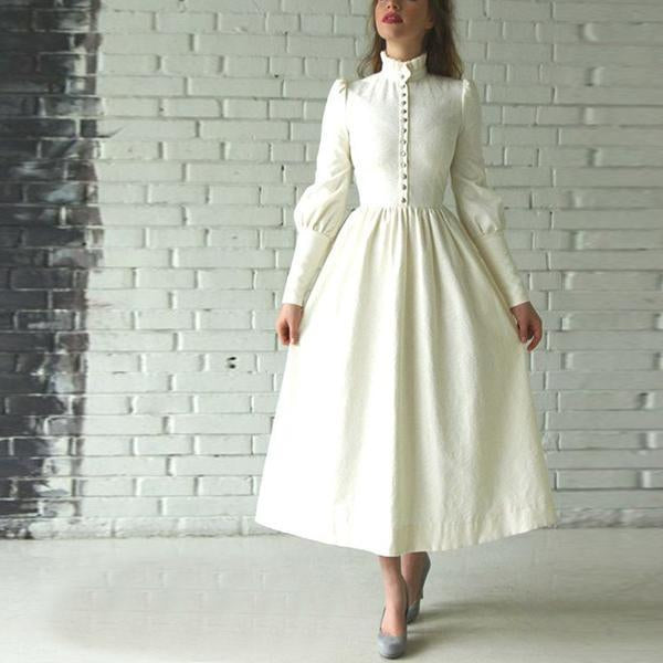 High Neck Long Sleeve Retro Maxi Dress