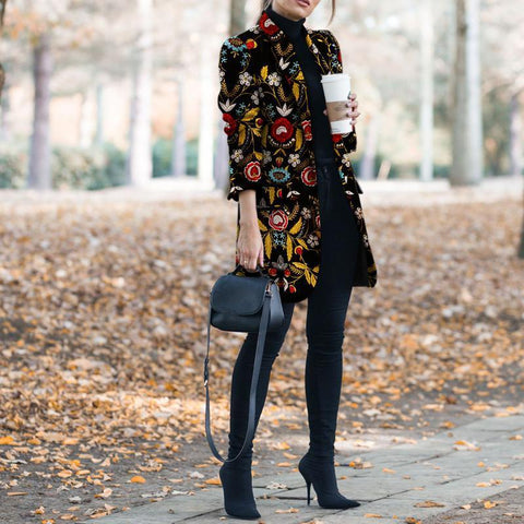 Autumn And Winter   Fashion Printed Long-Sleeved Suit Coat
