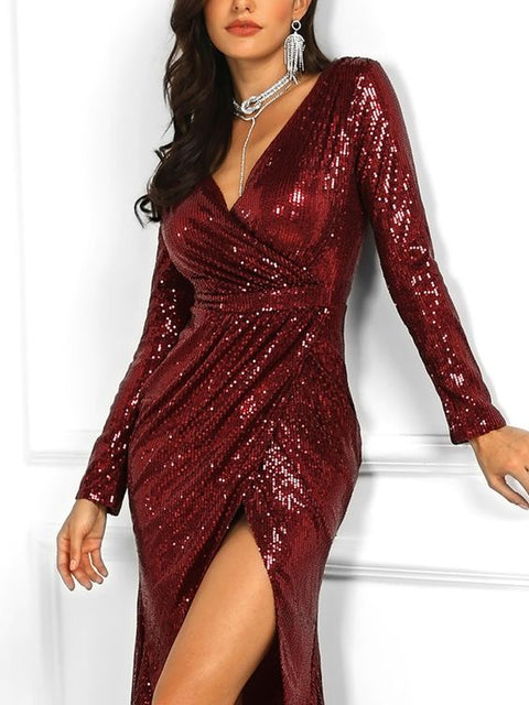 Surplice  High Slit  Plain Evening Dresses