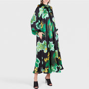 Stylish Green Floral Print Long Sleeve Maxi Dress