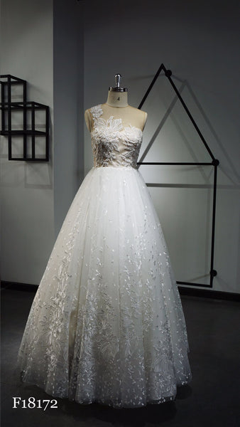 A-line wedding dress with embroidered bodice.