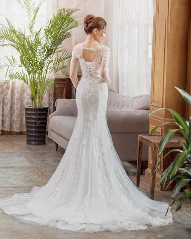 A-line full sleeve lace wedding dress with court train