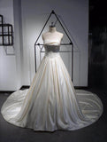 A line satin wedding dress with court train