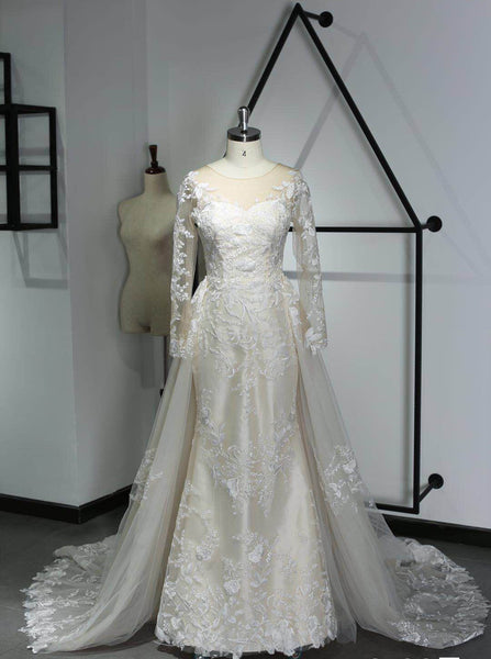 A-line satin wedding dress with lace and royal court train