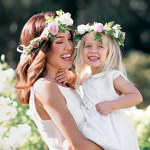 1/2PC Fashion Cute Mommy & Kids Wreath Flowers Headband Floral Crown Hairbands Travel Wedding Girls Headwear Floral Hairbands