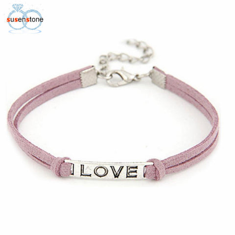 1PC Braided Adjustable Leather Popular Bracelet Women Men Love Handmade Alloy Rope Charm Jewelry Weave Bracelet Gift