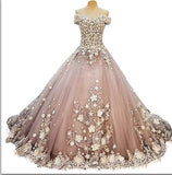 Blush Pink Floral Empire Watteau Train Beaded Off Shoulder Bridal Gown