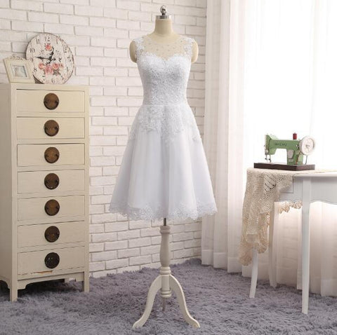 Elegant Sleeveless Knee Length Short Wedding Dress
