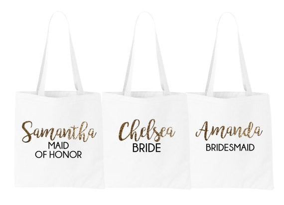Personalized name Bride Bridesmaid Maid of Honor Tote Bags Wedding bridal shower company gift bags Party favors