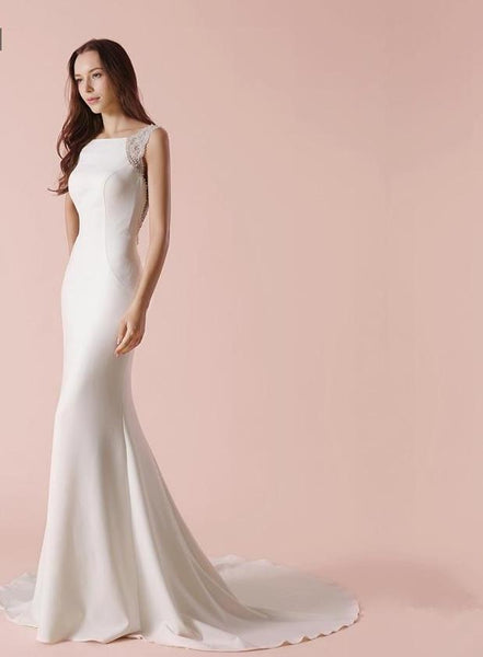 Sheath Wedding Dress Luxury Jewel Beaded Elegant Bridal Gown