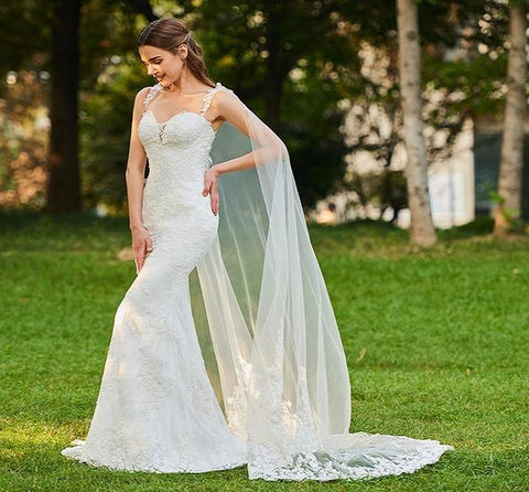 Long Mermaid Strap Wedding Dresses with Watteau Train