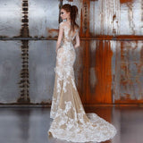 Champagne Wedding Dress with White Lace Applique Detachable Skirt Sexy See Through Bride Dresses Short Sleeve Vestidos de Noiva