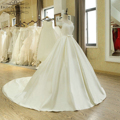 Off Shoulder Lace Pleat Satin Off White Wedding Dresses