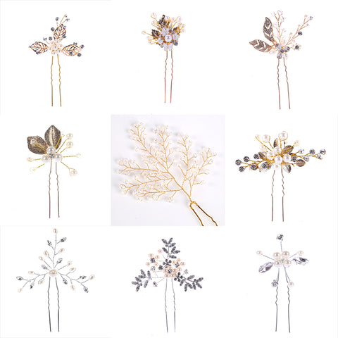 Fashion 1PC Gold Silver Wedding Hair Accessories Pearl Rhinestone Hairpins Hair Clips Bridal Bridesmaid Women Hair Jewelry Party