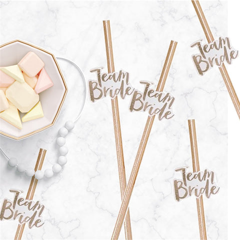 10pcs Team Bride Straws Rose Gold DIY Craft with Letter Bachelorette Wedding Decoration Bride To Be Party Supplies