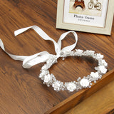 Crystal White Wedding Hair Accessories Bridal Headpieces Princess Crown Festival Ribbon Adjustable Girl Flower Crown