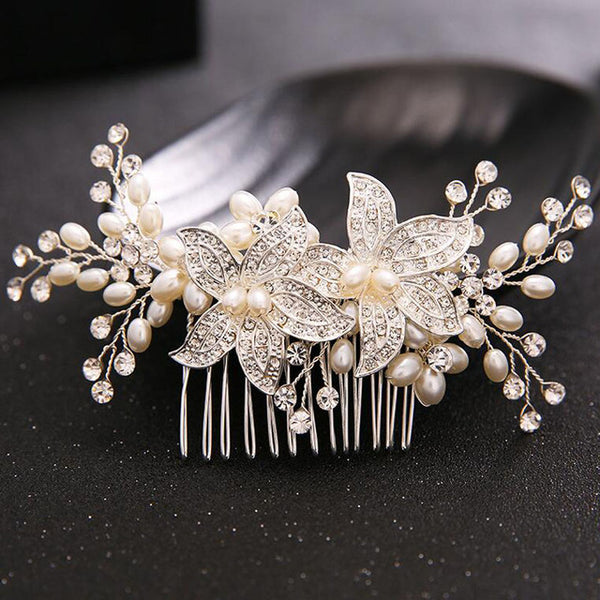 Handmade Pearl Wedding Hair Jewelry Party Pom Bridal Starry Hair Comb Pearl Tiara