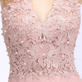 Babyonlinedress Sexy V Neck Pink Lace Chiffon Long Evening Dress 2018 Elegant Sleeveless Evening Gowns with Pearls Abendkleid
