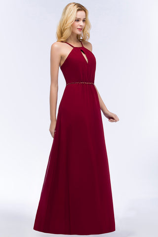 A Line Burgundy Beaded Bridesmaid Dress/Halter Chiffon Prom Wedding Party Gown